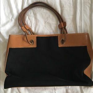 Tod's black and camel canvas handbag